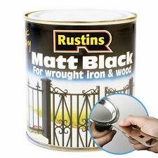 Black Matt Paint By Rustins in 2 Sizes Interior & Exterior Use In Wood & Metal