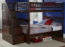 Staircase Bunk Bed with Stairs Twin over Twin Storage Stairway - Dark Finish