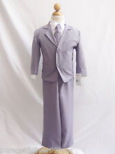 PGS WEDDING GRAY SILVER BOY FORMAL SUIT RING BEARER GRADUATION TUXEDO ALL SIZE