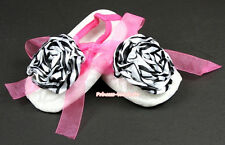 Toddler Baby White Lace Zebra Rosettes Hot Pink Ribbon Crib Shoes NB-18Month