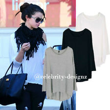 tp17 Celebrity Style Coloured Slouchy Oversized Uneven Hem T-shirt  Long Top