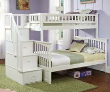 Staircase Bunk Bed with Stairs Twin over Full Storage Stairway - White Finish