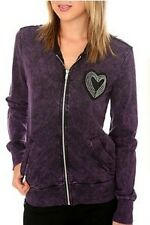 BORN FAMOUS COUTURE PURPLE WASH ZIPPER HEART HOODIE FORM HOT TOPIC