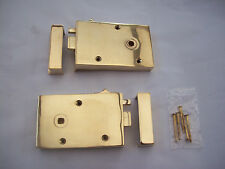 SOLID CAST POLISHED BRASS OLD ENGLISH STYLE BEDROOM DOOR RIM LOCK LATCH + SNIB