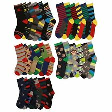 6 x Boys Cotton Rich Computer Design Pattern Socks