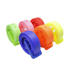 Candy Color Silicone Rubber Jelly Waistband Adjustable Buckle Casual Belt HJ398