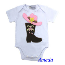 Cowgirl Brown Boots Pink Hat White Short Sleeves Bodysuit Romper 0-12M