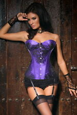 New arrival Sexy satin boned with black lace overlay corset bustier bodyshaper