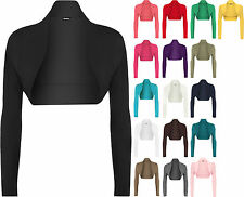 New Womens Plus Size Plain Long Sleeve Cropped Ladies Shrug Bolero Cardigan Top