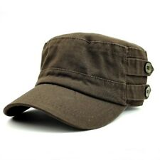 Mens Womens Military Cadet Caps Hats Big Buttons Sea Blue or Dark Brown