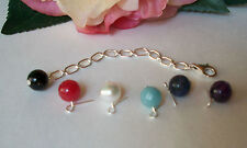 Sterling Silver Necklace Extender-Onyx Pearl Sodalite Jade Amazonite or Amethyst