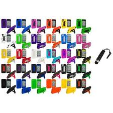 Hybrid Heavy Duty Hard/Soft Case Cover with Stand+Stylus Plug for iPhone 4 4S 4G