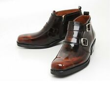STORE IN KOREA.  Mens real leather  BUCKLES side zip ankle boots brown   (m 149)