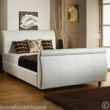 EXCLUSIVE FAUX LEATHER 5FT KING SIZE SLEIGH BED + MEMORY OR ORTHOPEDIC MATTRESS