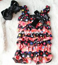 Baby Girls Colorful Polka Dots Black Petti Rompers Straps Bow Headband 2pc  0-3Y