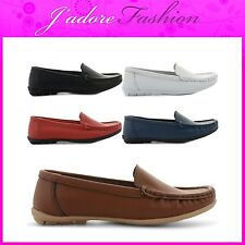 NEW LADIES FLAT COMFY SMART CASUAL  SLIP ON MOCCASINS DECK SHOES SIZES UK 3-8
