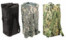 Enhanced Double-Strap Duffle Bags - Military Type Backpack Duffle Bag Camo Black