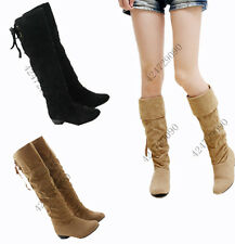 New Women's Sexy Low Heel Knee High Boots Back Lace Up Shoes US All Sz Y805