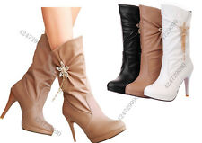 Fashion Women's High Heels Boots Mid Calf Skid Proof Shoes AU ALL Size YB216