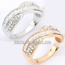 E1-R015 Fashion Cystal Band Ring 18KGP