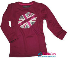 ♫NEU♫ trendiges LA Shirt von ~ MINYMO ~ WEINROT Great Britain Flag Glitzer Print