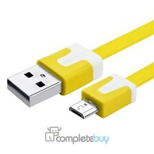 1m Yellow Flat Noodle Micro USB Charger Cable For HTC Motorola Kindle Nokia