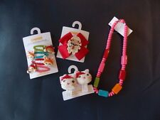 NWT Girl's Gymboree Winter Cheer hair ponytail holders barrettes clip necklace
