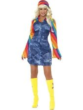 Adult 60s 70s Groovier Dancer Hippy Ladies Fancy Dress Hen Party Costume Outfit