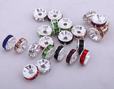 50pcs 8mm Rhinestone Crystal Round Rondelle Spacer Beads Finding DIY