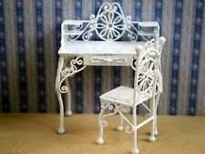 12th scale dolls house white wire desk and chair