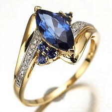 Size 6,7,8,9,10 Jewelry Woman's Blue Sapphire 10KT Yellow Gold Filled Ring Gift
