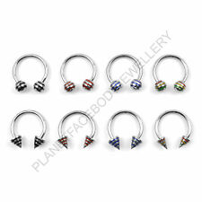 STRIPED CURVED CIRCULAR BARBELL HORSE SHOE LIP RING 316L SURGICAL STEEL