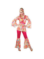 Hippy Flares & Top Outfit 60s-70s Fancy Dress Hippie Adult Ladies Costume 6-28