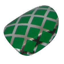 CHIX Nail Wraps Green on Silver Shiney Fishnet Fingers Toes Foils Stickers fn9