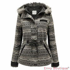 NEW LADIES FAUX FUR HOODED CORDUROY PATCHED AZTEC PRINT WOMENS WINTER COAT