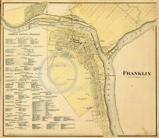 1865 FRANKLIN TOWNSHIP PENNSYLVANIA PA LAND OWNERSHIP MAP