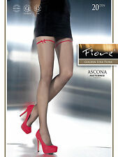Fiore Ascona Patterned Tights 20 Denier Red Ribbon effect on thigh 1 pair