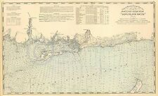 1893 NAUTICAL CHART MAP LONG ISLAND SOUND NIANTIC ROCKY POINT