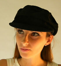 New 2014 Traditional Bakerboy Corduroy Country Sailor Fashion Peak Hat Cap Black