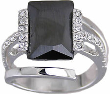 Black & Clear CZ  Ring Size 6 7 9 Affordable Cubic Zirconia Cocktail Jewelry NWT