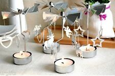 Rotary Rotating Spinning Metal Tea Light Candle Holder Christmas Xmas Gift NEW