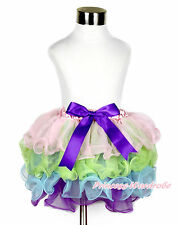 Baby Girl Pink Lime Green Light Blue Rainbow Dark Purple Bow Petal Skirt NB-8Y