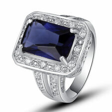 Hot Sale Sapphire Quartz White Topaz Gems Silver Fashion Ring Size 7 8 9 10 Gift