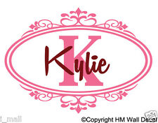 PERSONALISED NAME FLORAL FRAME 2 COLOUR WAYS Removable Wall Decal great gift