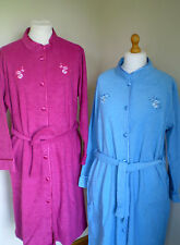 LADIES FLEECE LINED BUTTON FRONT DRESSING GOWN ROBES NIGHTWEAR SIZE 12 TO 26