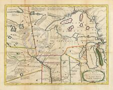 1767 COLONIAL MAP INDIAN TRIBES OF MIDWEST Historical Vintage