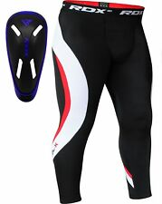 RDX Compression Pants & Gel Groin Cup Guard MMA Boxing UFC Mens Sports Tights GI