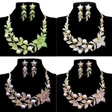 Beautiful Flowers Leaves Faux Pearl Crystal Earring Necklace Set Bridal Jewelry