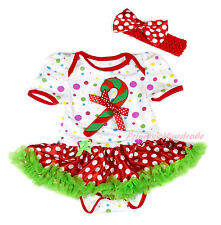XMAS Candy Cane White Rainbow Dot Bodysuit Minnie Skirt Baby Dress NB-18Month