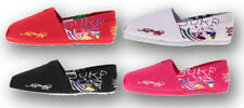 Ed Hardy Womens Bahamas Printed Canvas Slip On Flats Shoes